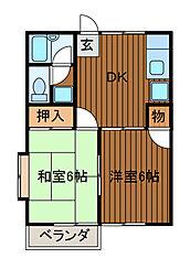第2コーポオオヌキ[201号室]の間取り