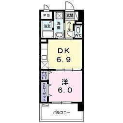 バス 与儀下車 徒歩7分の賃貸アパート 7階1DKの間取り