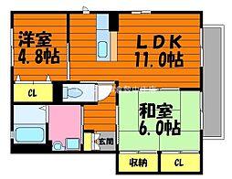岡山県倉敷市大内の賃貸アパートの間取り