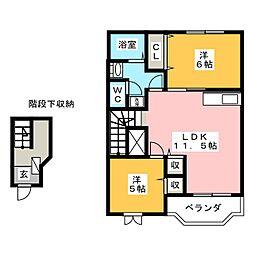 三重県鈴鹿市寺家2丁目の賃貸アパートの間取り