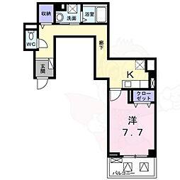 阪急京都本線 南茨木駅 徒歩14分の賃貸マンション 2階1Kの間取り
