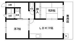 セジュール甲東[102号室]の間取り
