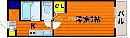 JR山陽本線 西川原駅 徒歩5分の賃貸マンション 1階1Kの間取り