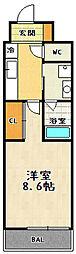 アミティエ山科 4階1Kの間取り