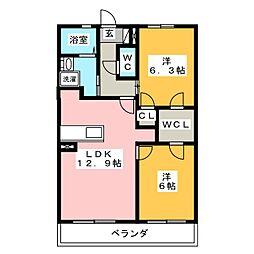 カーサベッロKII 1階2LDKの間取り
