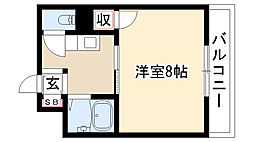 愛知県名古屋市昭和区川原通8丁目の賃貸マンションの間取り