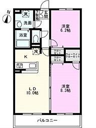 埼玉県吉川市中野の賃貸マンションの間取り