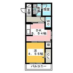 愛知県名古屋市瑞穂区山下通5丁目の賃貸アパートの間取り