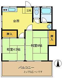 長田荘[203号室]の間取り