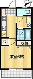 シノン鶴牧[203号室]の間取り