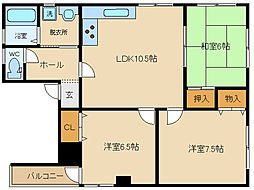 Asano Heights(アサノハイツ)[3階]の間取り