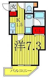 ハーモニーレジデンス大塚山手 2階1Kの間取り