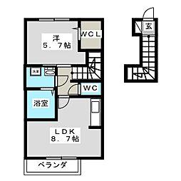 イストワール壱番館 2階1LDKの間取り