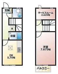 兵庫県姫路市北条宮の町の賃貸アパートの間取り
