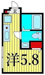 東京メトロ日比谷線 三ノ輪駅 徒歩1分の賃貸マンション 2階ワンルームの間取り