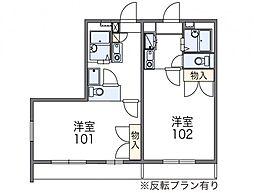 レオパレスシャローム[1階]の間取り