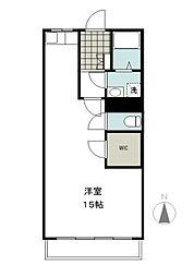 坪井マンション 2階ワンルームの間取り