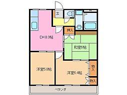 ヴィラNAKAGAWAII[2階]の間取り