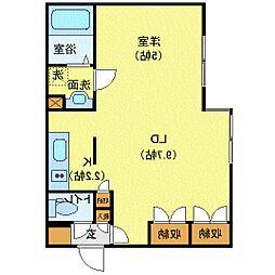 Comfort City(コンフォートシティ) 2階1LDKの間取り