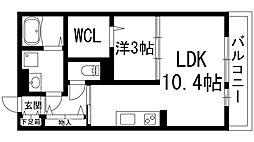大阪府池田市石橋2丁目の賃貸アパートの間取り