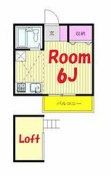 神奈川県横浜市保土ケ谷区峰岡町2丁目の賃貸アパートの間取り