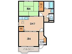 和歌山県紀の川市名手市場の賃貸アパートの間取り