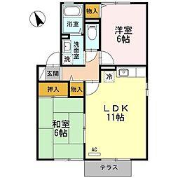 広島県尾道市高須町の賃貸アパートの間取り