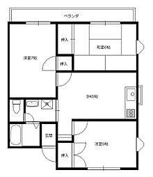 東京都八王子市元八王子町1丁目の賃貸アパートの間取り