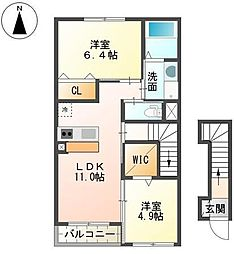静岡県裾野市金沢の賃貸アパートの間取り