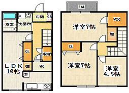 京都府京都市山科区西野山中鳥井町の賃貸アパートの間取り