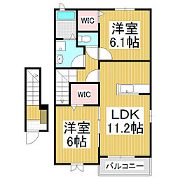 JR中央本線 上諏訪駅 バス25分 下金子農協支所前下車 徒歩5分の賃貸アパート 2階2LDKの間取り