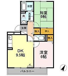 メゾンドフレールII[2階]の間取り