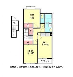 愛知県小牧市大字下末の賃貸アパートの間取り