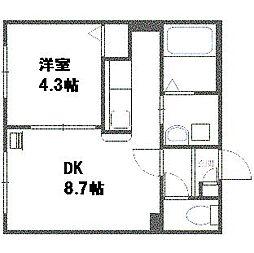 北海道札幌市豊平区平岸五条6丁目の賃貸マンションの間取り