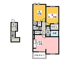 サンシャイン ウエスト[2階]の間取り