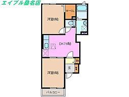 三重県桑名市大字桑部の賃貸アパートの間取り