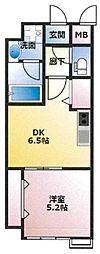 (仮)東古松4丁目マンション 2階1DKの間取り