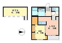 愛知県名古屋市中川区前並町の賃貸アパートの間取り