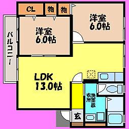滋賀県大津市蓮池町の賃貸アパートの間取り