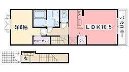 兵庫県西宮市小曽根町2丁目の賃貸アパートの間取り