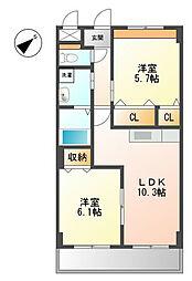 福岡県北九州市八幡西区真名子1丁目の賃貸アパートの間取り