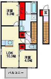 D-HOUSE B棟[2階]の間取り