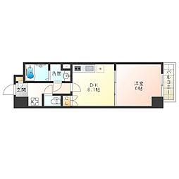 Osaka Metro御堂筋線 西田辺駅 徒歩8分の賃貸マンション 5階1DKの間取り