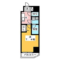 GRAN PASEO 浅草橋 8階1Kの間取り