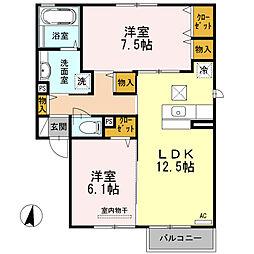 兵庫県尼崎市武庫豊町2丁目の賃貸アパートの間取り
