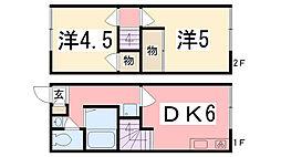 兵庫県姫路市北今宿の賃貸アパートの間取り