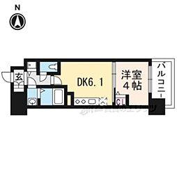 京都地下鉄東西線 太秦天神川駅 徒歩6分の賃貸マンション 4階1DKの間取り