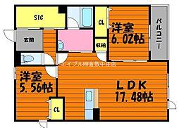 岡山県倉敷市田ノ上丁目なしの賃貸マンションの間取り