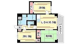 兵庫県神戸市長田区長田町5丁目の賃貸マンションの間取り