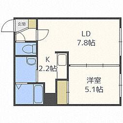 北海道札幌市中央区南七条西12丁目の賃貸マンションの間取り